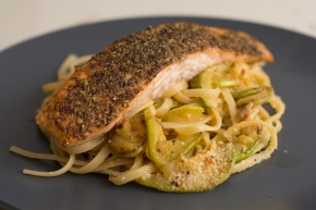 Fennel-crusted salmon courgette linguine